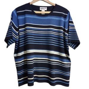 Pendleton striped short sleeve silk blend sweater